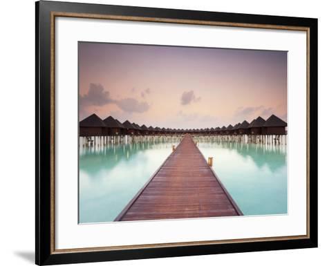 Boardwalk and Water Bungalows after Sunset-Frank Lukasseck-Framed Art Print