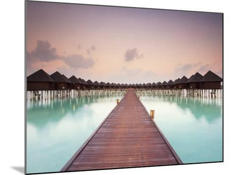 Boardwalk and Water Bungalows after Sunset-Frank Lukasseck-Mounted Photographic Print
