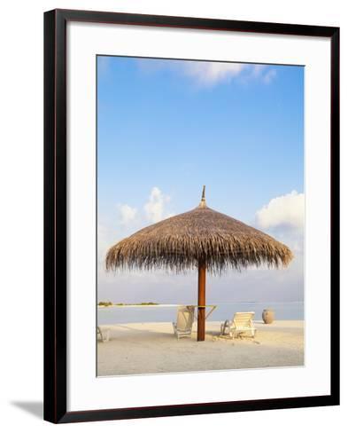 Beach chairs and umbrella at the beach-Frank Lukasseck-Framed Art Print