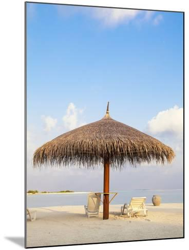 Beach chairs and umbrella at the beach-Frank Lukasseck-Mounted Photographic Print