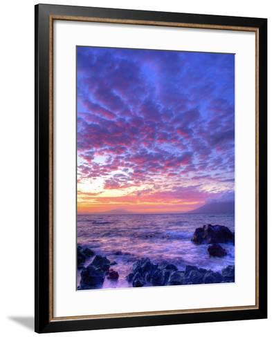 Sunset over beach at Wailea on Maui-Ron Dahlquist-Framed Art Print
