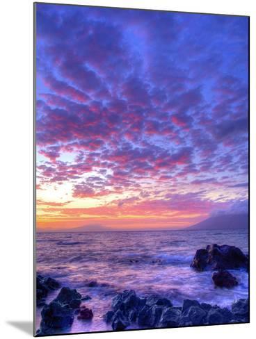 Sunset over beach at Wailea on Maui-Ron Dahlquist-Mounted Photographic Print