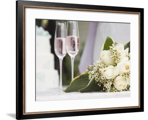 Wedding bouquet and champagne glasses-Marnie Burkhart-Framed Art Print
