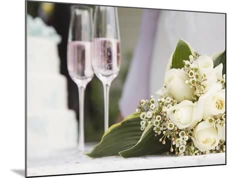 Wedding bouquet and champagne glasses-Marnie Burkhart-Mounted Photographic Print