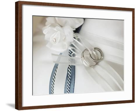 Wedding rings tied to pillow-Marnie Burkhart-Framed Art Print