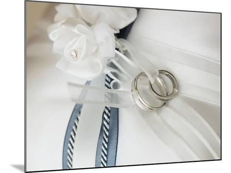 Wedding rings tied to pillow-Marnie Burkhart-Mounted Photographic Print
