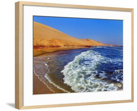 Waves Rolling into Shore in Sandwich Harbor-Frank Krahmer-Framed Art Print