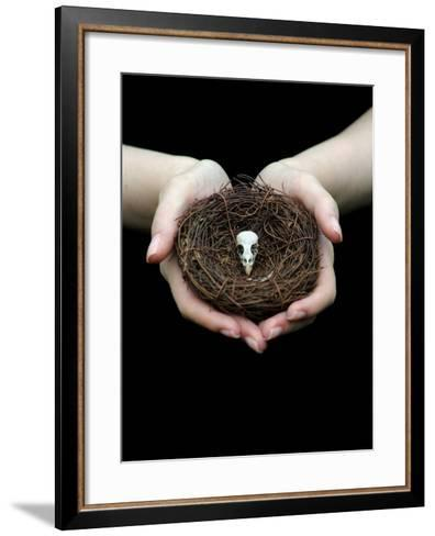 Birds Nest in Cupped Hands-Elisa Lazo De Valdez-Framed Art Print