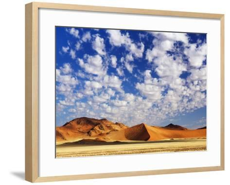 Dunes in Namib Desert Under White Clouds-Frank Krahmer-Framed Art Print