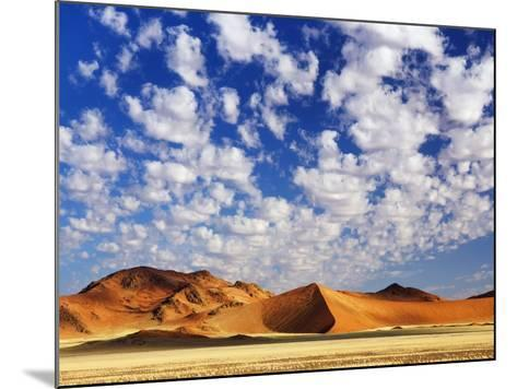 Dunes in Namib Desert Under White Clouds-Frank Krahmer-Mounted Photographic Print