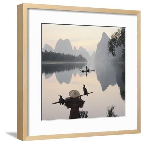 Cormorant fishermen in Li River-Martin Puddy-Framed Art Print