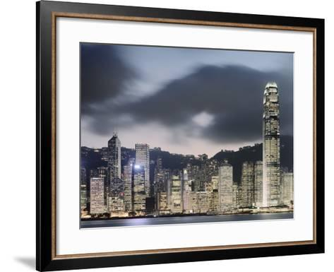 Hong Kong Skyline and financial district at dusk-Martin Puddy-Framed Art Print