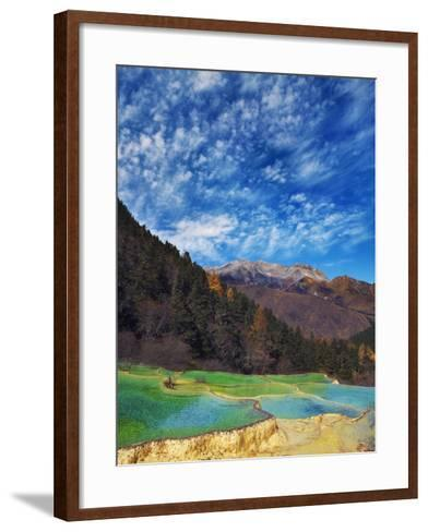 Limestone terraces in Huanglong Scenic Area in China-Frank Krahmer-Framed Art Print