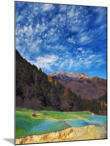 Limestone terraces in Huanglong Scenic Area in China-Frank Krahmer-Mounted Photographic Print