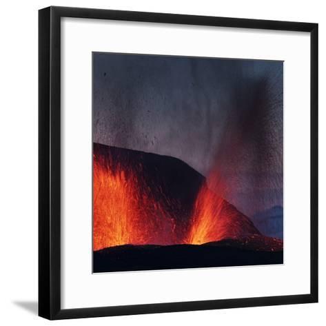 Lava erupting from Eyjafjallajokull--Framed Art Print