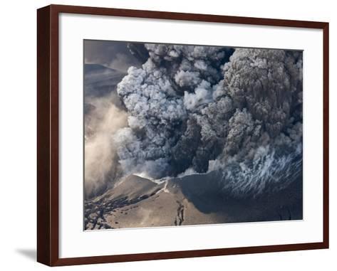 Eyjafjallajokull volcano erupting in Iceland-Paul Souders-Framed Art Print