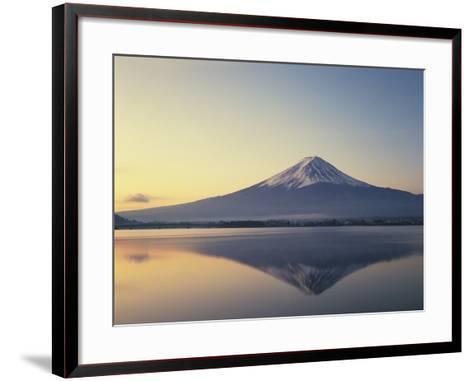 Mt. Fuji reflected in lake, Kawaguchiko, Yamanashi Prefecture, Japan--Framed Art Print