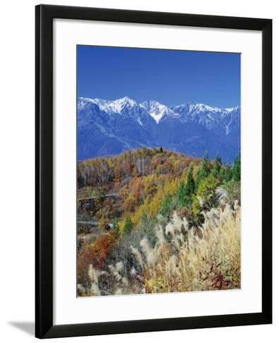 Mountain range and autumn foliage, Hakuma Miyama, Nagano Prefecture, Japan--Framed Art Print
