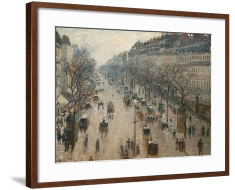 The Boulevard Montmartre on a Winter Morning-Camille Pissarro-Framed Art Print