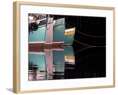 Fishing Boats and Their Reflections in Water, North Head, Grand Manan Island, New Brunswick, Canada-Garry Black-Framed Art Print