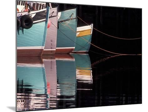 Fishing Boats and Their Reflections in Water, North Head, Grand Manan Island, New Brunswick, Canada-Garry Black-Mounted Photographic Print