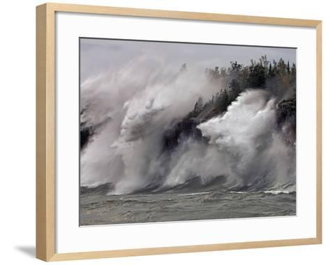 Fierce Lake Superior waves pound Minnesota's north shore-Layne Kennedy-Framed Art Print