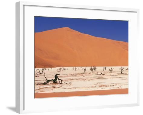 Dead Tree Skeletons and Cracked Clay Surrounded by Sand Dunes, Dead Vlei, Namib-Naukluft National P-Garry Black-Framed Art Print