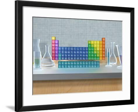 Periodic table of the elements with glassware--Framed Art Print