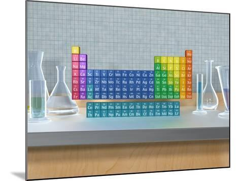Periodic table of the elements with glassware--Mounted Photographic Print