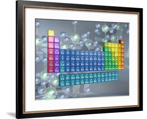 Periodic table of the elements and molecules--Framed Art Print