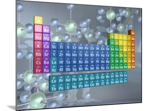 Periodic table of the elements and molecules--Mounted Photographic Print