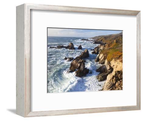 Natural rock arch in surf at Garrapata State Park-Frank Lukasseck-Framed Art Print