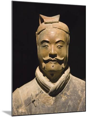 Terra cotta warrior with color still remaining, Emperor Qin Shihuangdi's Tomb, Xian, Shaanxi, China-Keren Su-Mounted Photographic Print