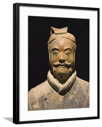Terra cotta warrior with color still remaining, Emperor Qin Shihuangdi's Tomb, Xian, Shaanxi, China-Keren Su-Framed Art Print