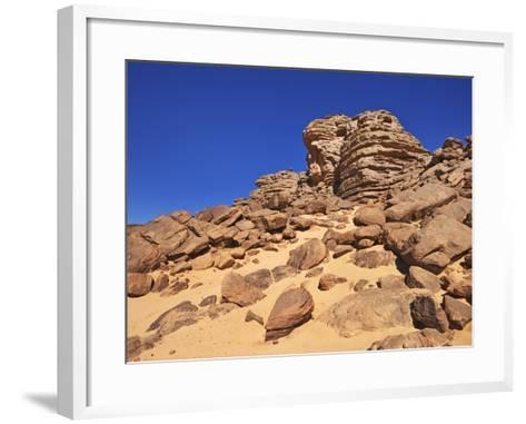 Eroded landscape in Tassili du Hoggar-Frank Krahmer-Framed Art Print