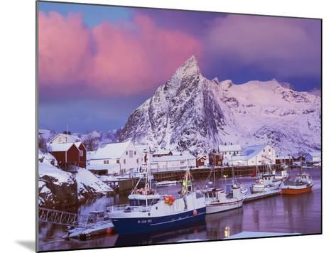 Fishing village of Hamnoy below Klokketinden peak-Frank Krahmer-Mounted Photographic Print