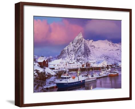 Fishing village of Hamnoy below Klokketinden peak-Frank Krahmer-Framed Art Print