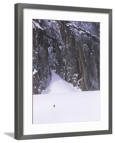 Backcountry Skier Underneath Snowpatch Spire, Bugaboos, British Columbia, Canada.-Chris Joseph-Framed Art Print