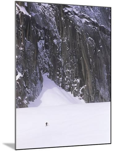 Backcountry Skier Underneath Snowpatch Spire, Bugaboos, British Columbia, Canada.-Chris Joseph-Mounted Photographic Print