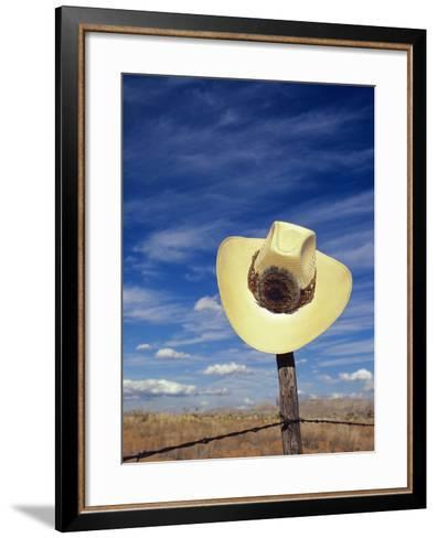 Cowboy Hat on Barbed Wire Fence, British Columbia, Canada-Gary Fiegehen-Framed Art Print