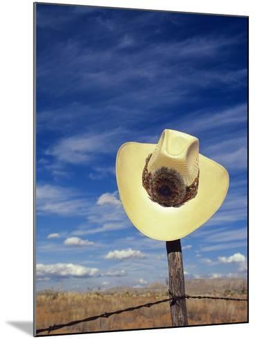 Cowboy Hat on Barbed Wire Fence, British Columbia, Canada-Gary Fiegehen-Mounted Photographic Print
