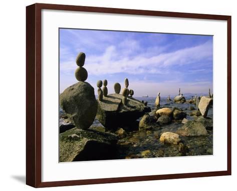 Balanced Rocks Along Seawall, Stanley Park, Vancouver, British Columbia, Canada.-Ron Watts-Framed Art Print