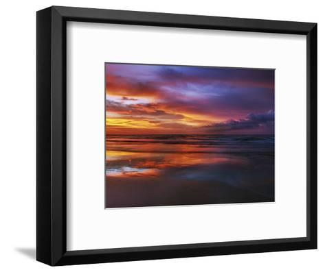 Magnificent sunset with monsoon clouds-Frank Krahmer-Framed Art Print