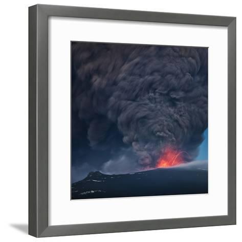 Ash plume from the Eyjafjallajokull eruption--Framed Art Print