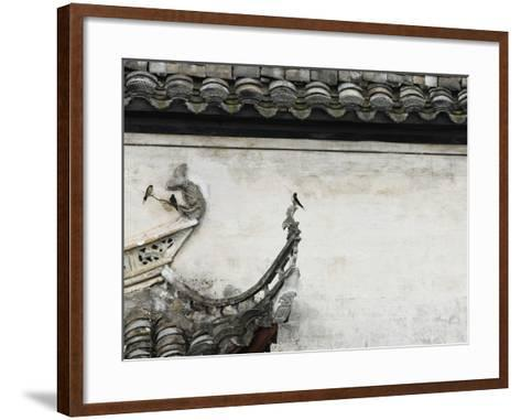 Birds on tiled roof in Xidi, China-Yang Liu-Framed Art Print