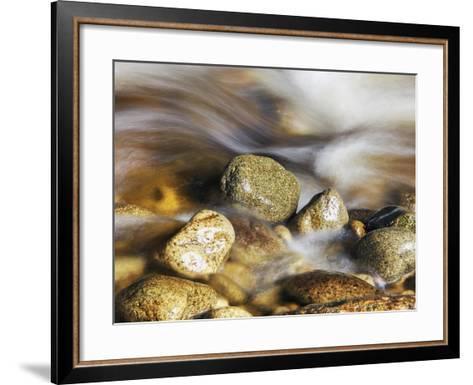 Water rushing past river stones-Frank Krahmer-Framed Art Print