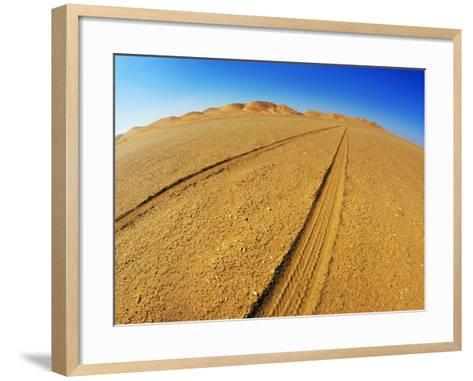Tire tracks in the sand-Frank Krahmer-Framed Art Print