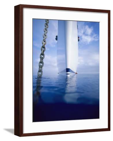 Large Boat Anchored Off Cuba-Onne van der Wal-Framed Art Print
