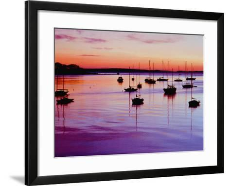 Sailboats Anchored in a Harbor-Cindy Kassab-Framed Art Print