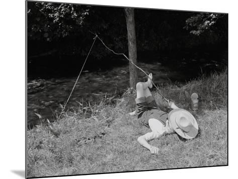 Boy Fishing in the Country-Bettmann-Mounted Photographic Print